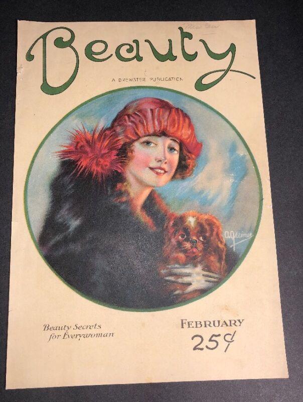 RARE Beauty Magazine Cover Only 1920s Pretty Flapper Girl & Dog Art Greiner