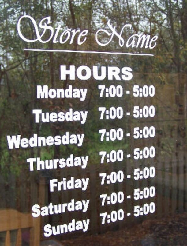 Custom Business Store Hours Sign, Business Vinyl  Decal