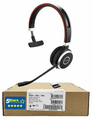 Jabra Evolve 65 UC Mono Wireless Headset (6593-829-409) Brand New, 1 Yr Warranty