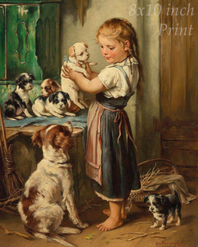 The Puppy Mother by Rosa Schweninger - Girl Dogs Litter Love 8x10 Print 2249