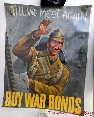 1942 TILL WE MEET AGAIN BUY WAR BONDS WWII Propaganda Poster Joseph Hirsch