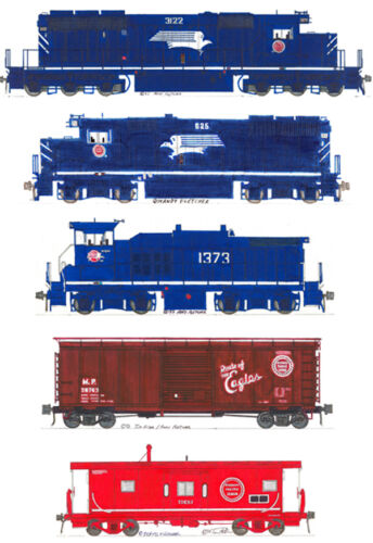 Missouri Pacific Route of the Eagles Set of 5 magnets by Andy Fletcher