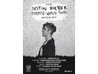 Justin Bieber Tickets x 2 26th October Sheffield, seated Block 208