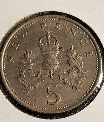 1970 5 NEW PENCE Elizabeth II UK FREE SHIPPING