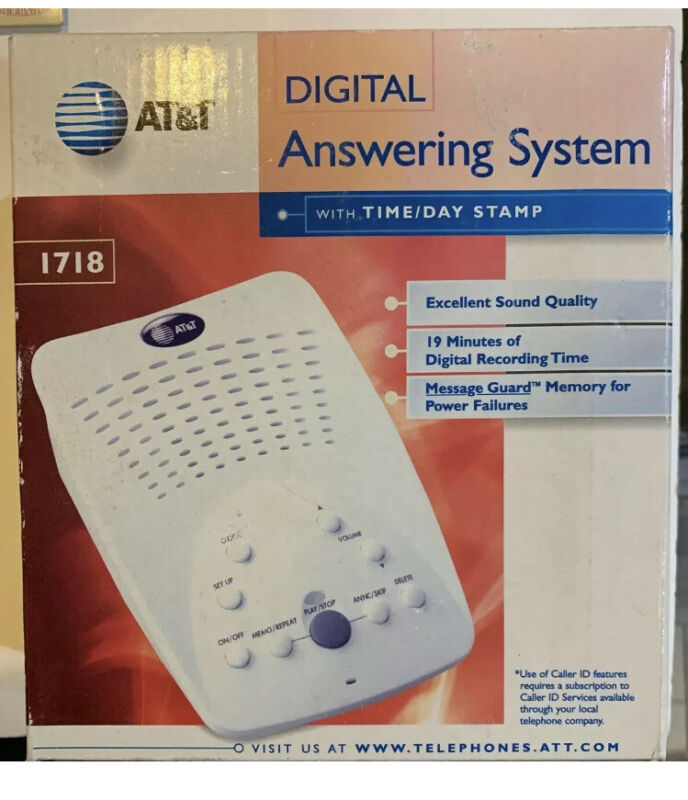 AT&T 1718 Digital Answering System With Time & Day Stamp • New • Windchill White