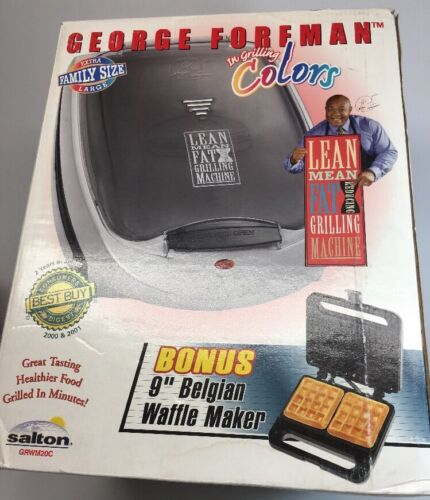 NEW Vtg George Foreman XL Family Size Healthy Food Grill + B