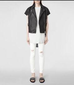All saints leather biker jacket size 10