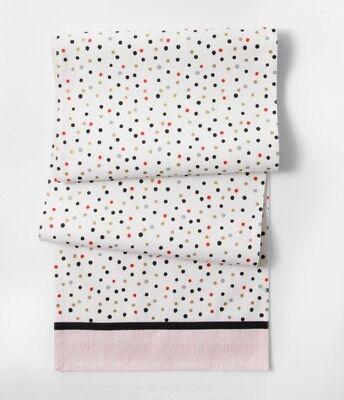"NWT Cream Polka Dot Pink Stripes Table Runner 14"" x 72"