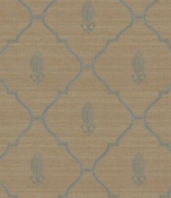 Wallpaper Designer Blue Trellis Lattice with Fleur de Lis on Taupe Gold Crackle - Fleur De Lis Trellis