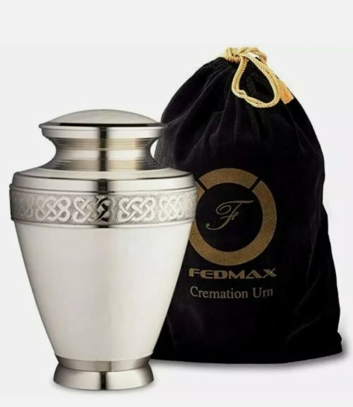 Fedmax Urns for Human Ashes - White Decorative Cremation Urn for Funeral w/ S...