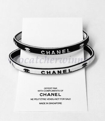 New Chanel VIP Gift Elastic Hair Tie/ Wrist Band Set Of 2  U.S Seller