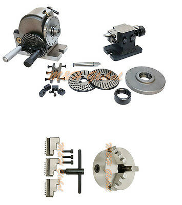 Bs-1 Precision Dividing Head 6 3 Jaw Chuck Semi Tailstock Plates Milling Set