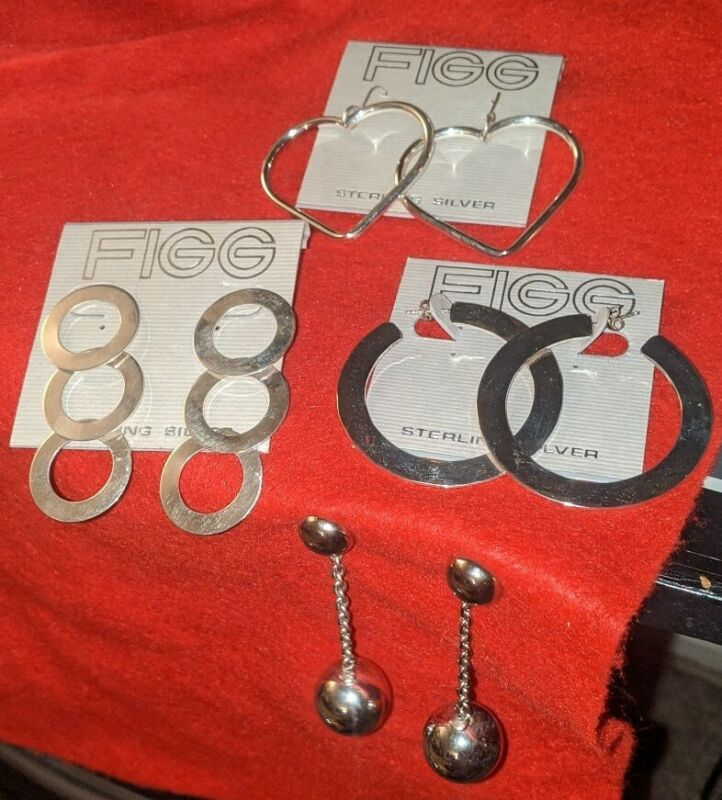 Sterling Silver Earrings Lot Of 4 Figg
