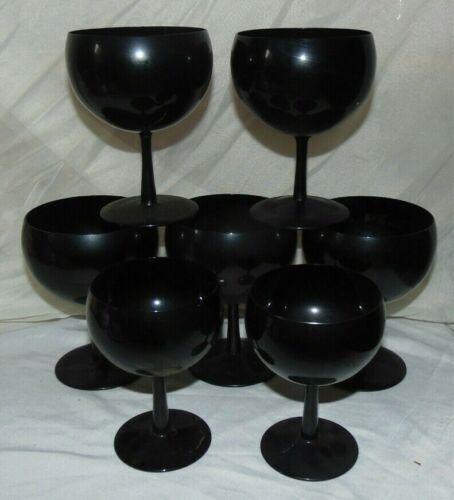 7 Vintage  Black Bubble Amethyst Wine Goblets Glasses Stems