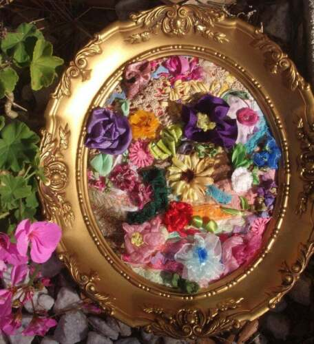 Framed+12%22+Neo-Victorian+Floral+Bouquet+of+Vintage+Lace%2C+Ribbon+Embroidery%2C+OOAK