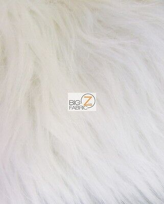 SOLID GRIZZLY SHAGGY FAKE FUR FABRIC - Ivory - BY YARD COAT COSTUME CLOSEOUT!!!