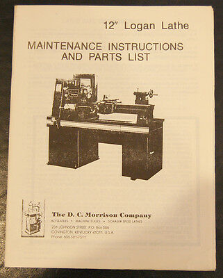 Logan 12 Powermatic Lathe Maintenance Instructions Parts Schematics Manual