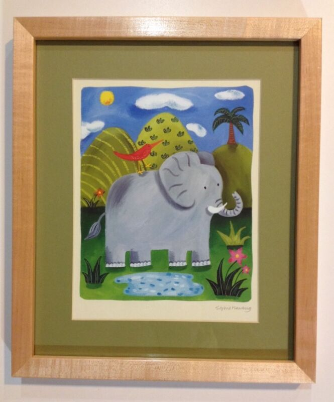 ☀️ ELEPHANT Jungle Wood Framed Picture Wall Art Hang Boy Girl Baby Room 11x13