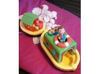 RARE Happyland Barge Boat & Figures (SEE PHOTOS)