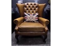 Stunning RARE Chesterfield Queen Anne Wing Back Chair Tan Leather - Uk Delivery