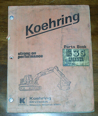 Koehring 535 Spanner Parts Manual