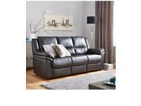 Albion Luxury Faux Leather 3 Seater Sofa In black