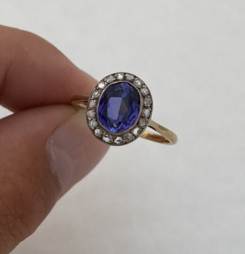 18ct Gold Rare Purple Sapphire & Rose Cut Diamond Period Art Deco Ring 18K 750.