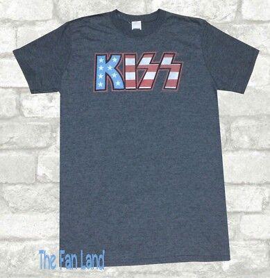 (New Kiss Classic American USA Flag Logo Mens Vintage Retro T-Shirt)