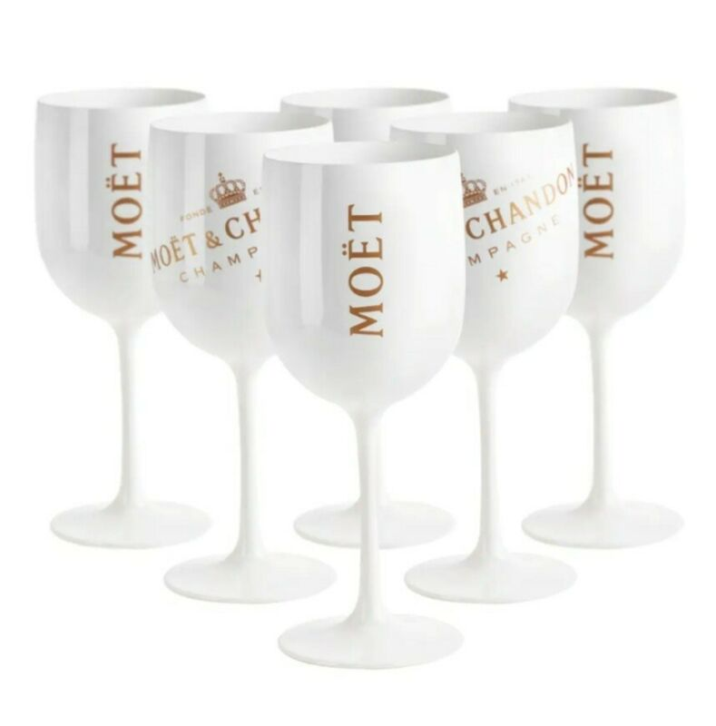 6 Pack Moet & Chandon NEW White Acrylic Glasses Goblets For Pool, Beach & Patio