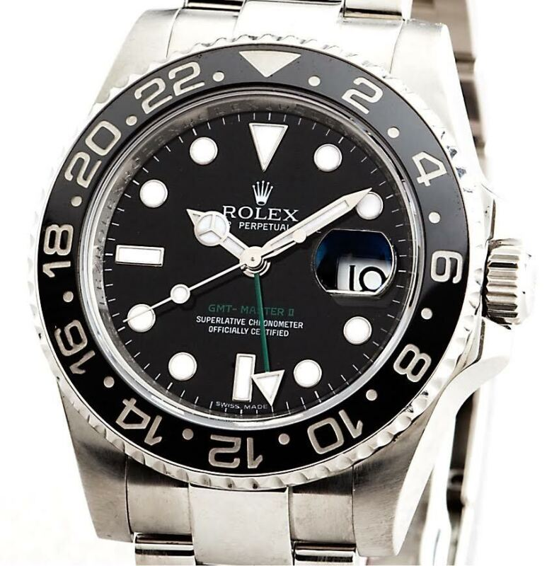 Mens Rolex Stainless Steel Gmt-master Ii Watch Black Dial Ceramic Bezel 116710