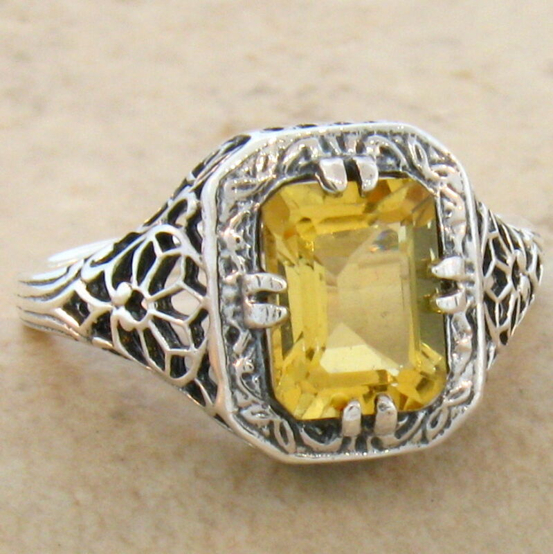 GENUINE CITRINE 925 STERLING SILVER ART DECO ANTIQUE STYLE RING SIZE 6.75   #681