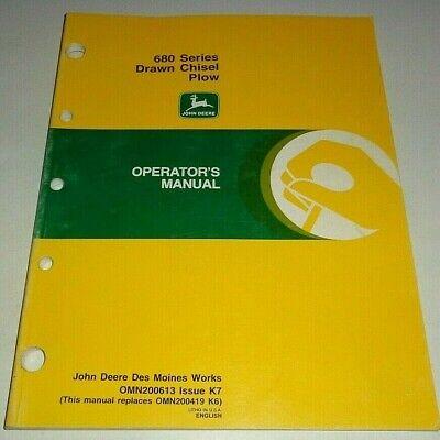 John Deere 680 Series Drawn Chisel Plow Operators Owners Manual Original K7 97