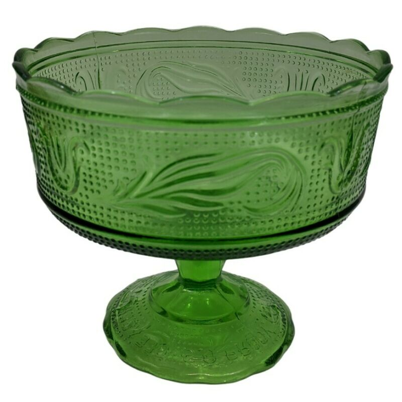 EO Brody Emerald Green Glass Pedestal Compote Bowl M6000 Vintage Fruit Candy