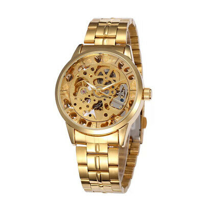 (New Gold Men's Automatic Mechanical Transparent Skeleton Waterproof Wrist Watch)