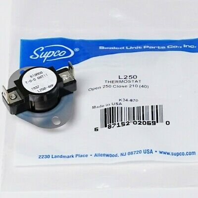 Supco L250-40 Heater Limit Thermostat Thermodisc Open On Rise