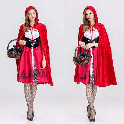 Red Riding Hood Outfit (Womens Little Red Riding Hood Cosplay Party Fancy Dress Costume Outfit w/)