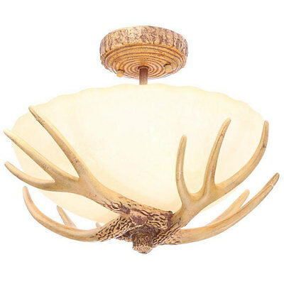 Antler Semi Flush Mount Light Fixture Ceiling Lamp Rustic Lighting Cabin Decor, used for sale  USA