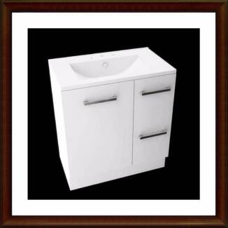 Stylish bathroom vanity 750mm cabinet with 3 tap ceramic basin Campbells Creek Mount Alexander Area Preview