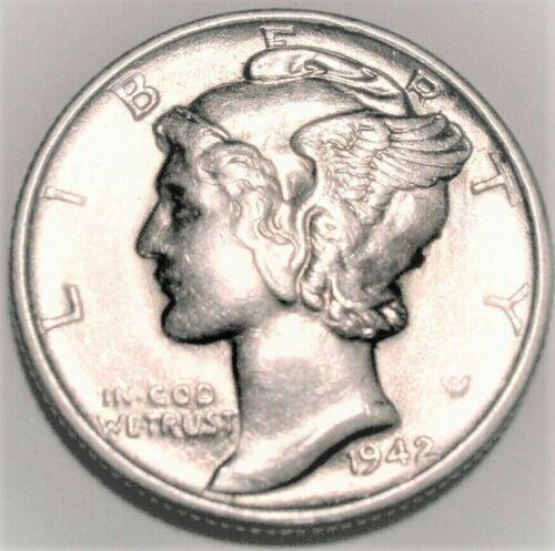 1942 D Mercury Dime Almost Uncirculated 90% Silver Coin AU / BU