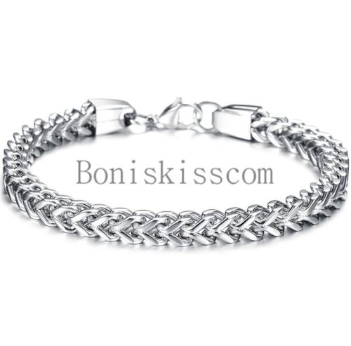 Jewellery - Heavy Stainless Steel Square Curb Wheat Chain Link Bracelet Men's Bangle Silver