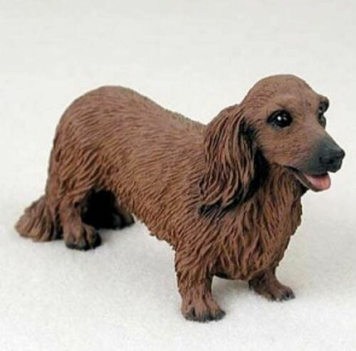 DACHSHUND (RED LONG HAIR) DOG Figurine Statue Hand Painted Resin Gift Pet Lovers