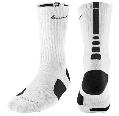 Nike Elite Cushioned Basketball Crew Socks Medium 6-8 SX3629-107 White Black $14