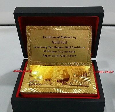 NEW 24K GOLD PLAYING CARDS POKER PLATED MAHOGANY BOX CERTIFICATE OF AUTHENTICITY