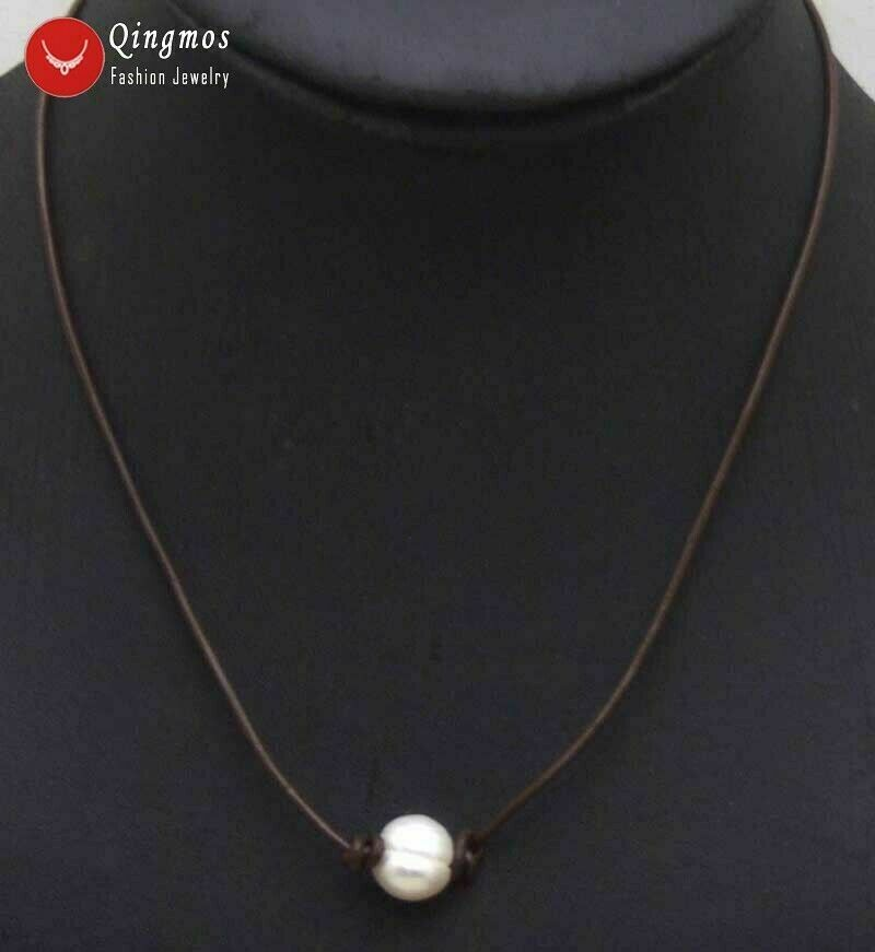 """32/"""" Long 10-11mm Round Shape White Fresh Water Pearl Necklace"""