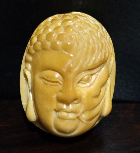 "TN1389 - 2"" Hand Carved Tagua Nut Netsuke - Blink of The Heart -  Mask"