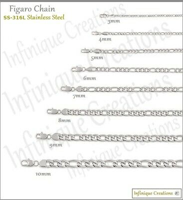 """Stainless Steel Silver Figaro Chain Bracelet and Necklace Men Women 3-12mm 7-38"""""""