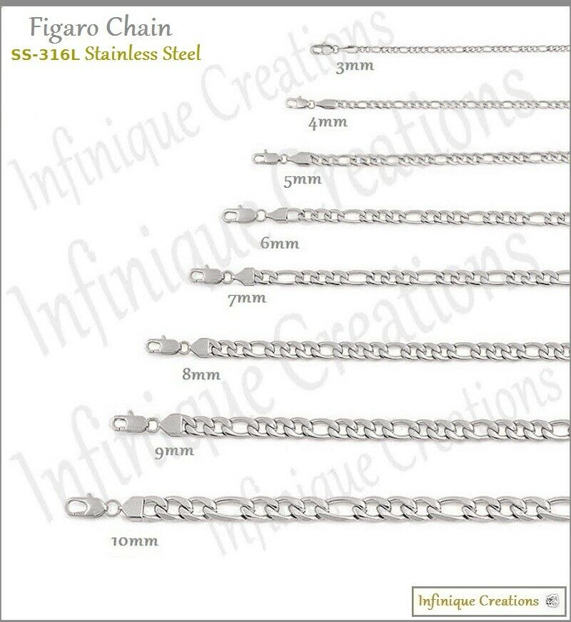 Jewellery - Stainless Steel Silver Figaro Chain Bracelet and Necklace Men Women 3-12mm 7-38""