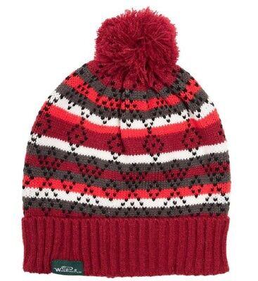 Fair Isle Hat Patterns - Woolrich Womens Fair Isle Pattern Festive Pom Pom Red Scarlet Beanie Hat