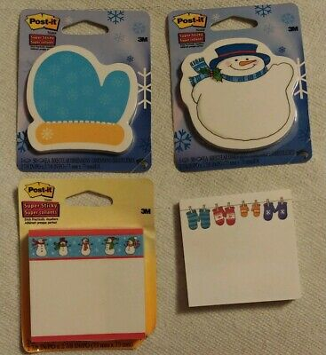 Lot Of 4 Winter Themed Post-it Notes Mittens Snowman Snow Etc 1 Is Double Pack