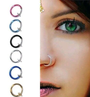 clip on body jewelry silver goth ear nose lip hoop ring fake cheater earring - Hoop Body Jewelry